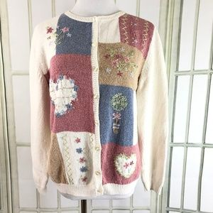 Patchwork Embroidered Hearts Cardigan Sweater